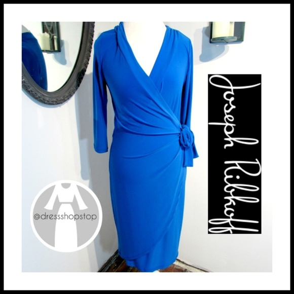 Joseph Ribkoff Dresses | Royal Blue Wrap Dress Nwt | Poshmark